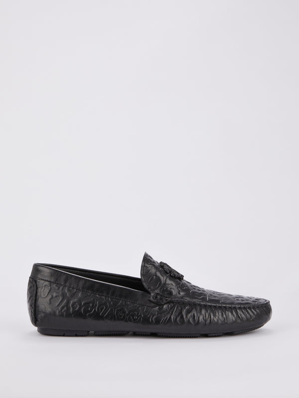 Black Embossed Leopard Effect Loafers