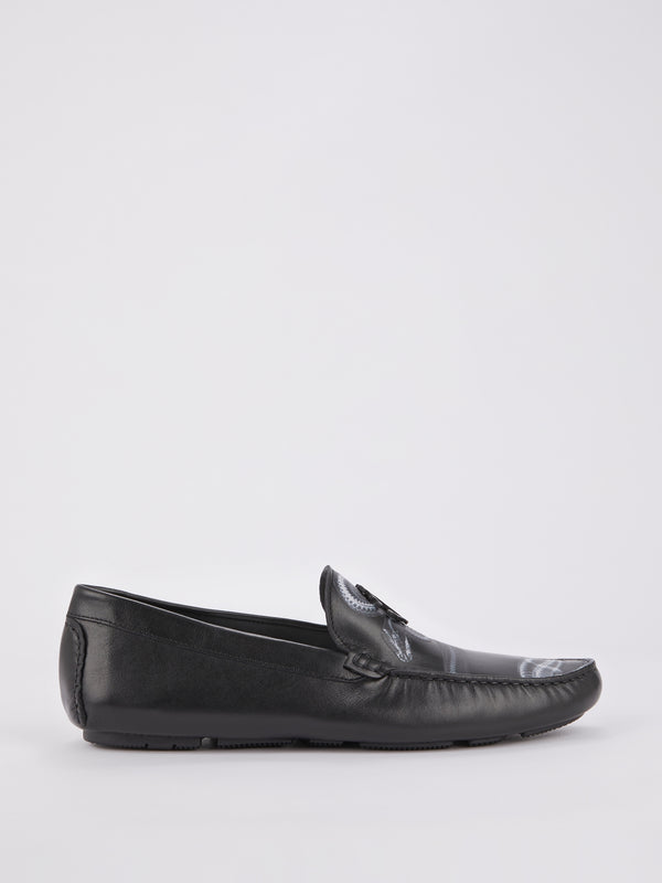 Black Snake Print Leather Loafers