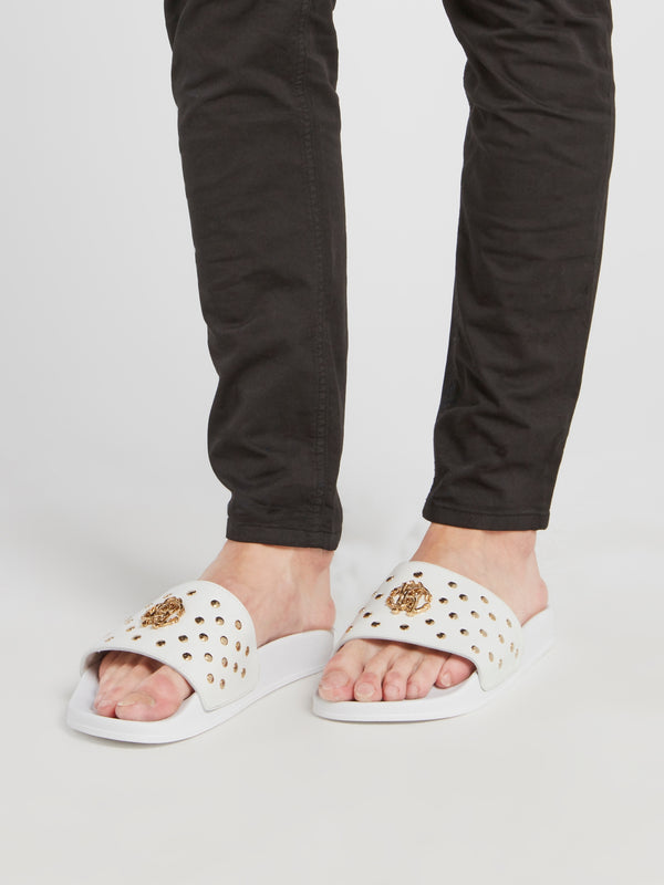 White Snake Monogram Studded Slides