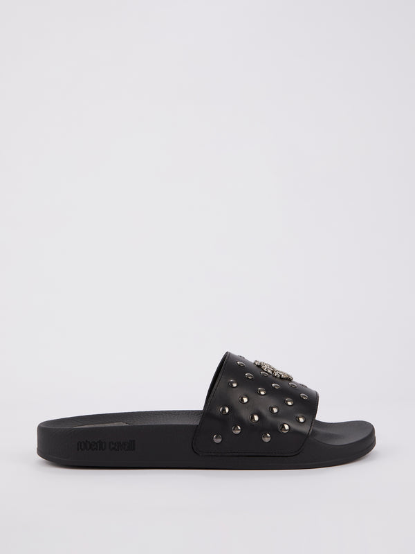 Black Snake Monogram Studded Slides