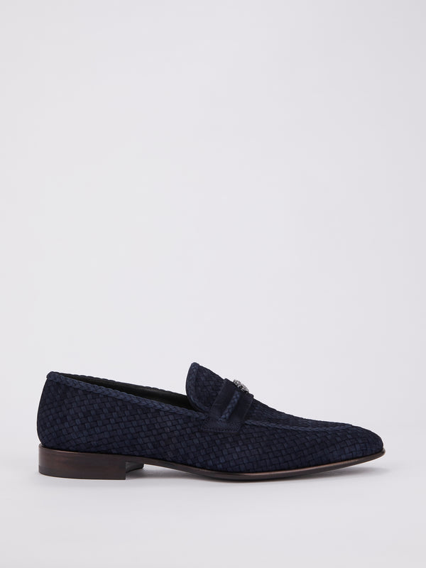 Navy Logo Weave Loafers