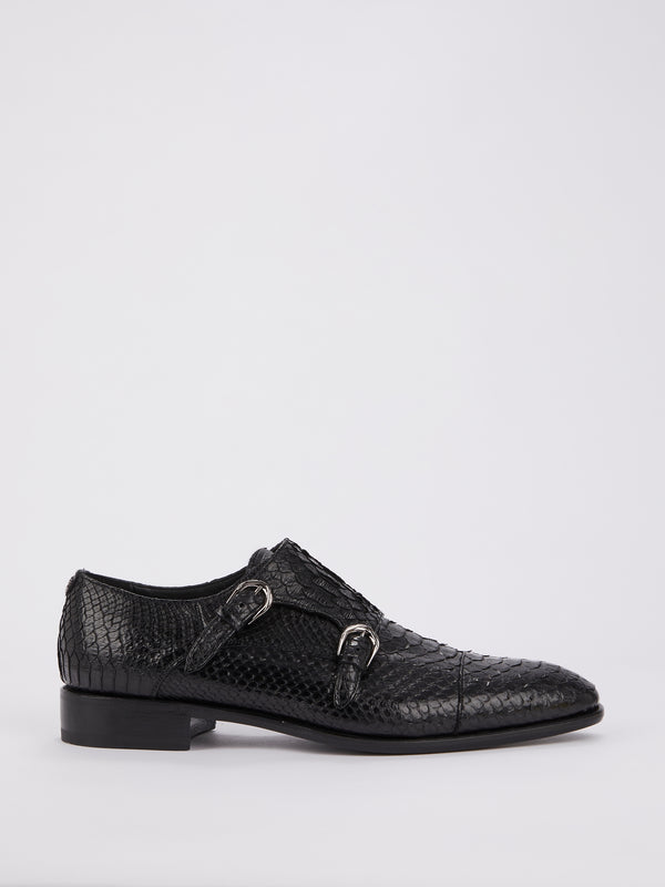 Snake Effect Double Monk Strap Brogues