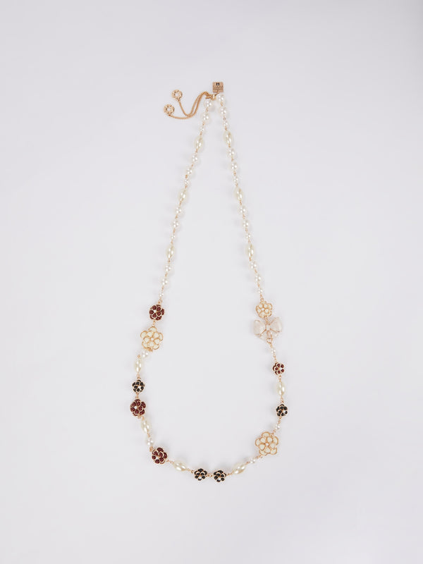 Floral Pearl Long Necklace