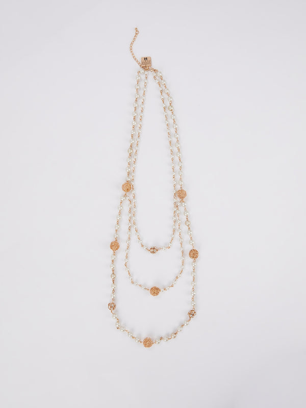 Multi-Strand Tiered Pearl Necklace
