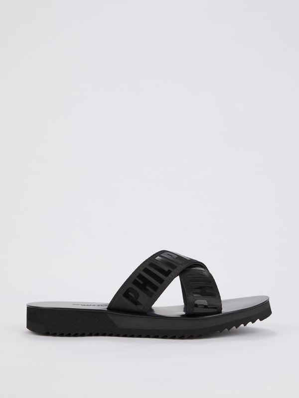 Black Logo Crisscross Flat Sandals