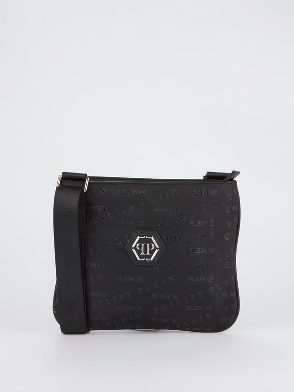 Black Monogram Print Crossbody Bag