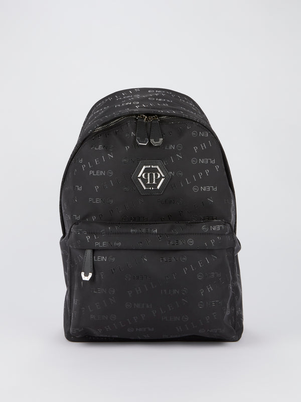 Black Monogram Print Backpack