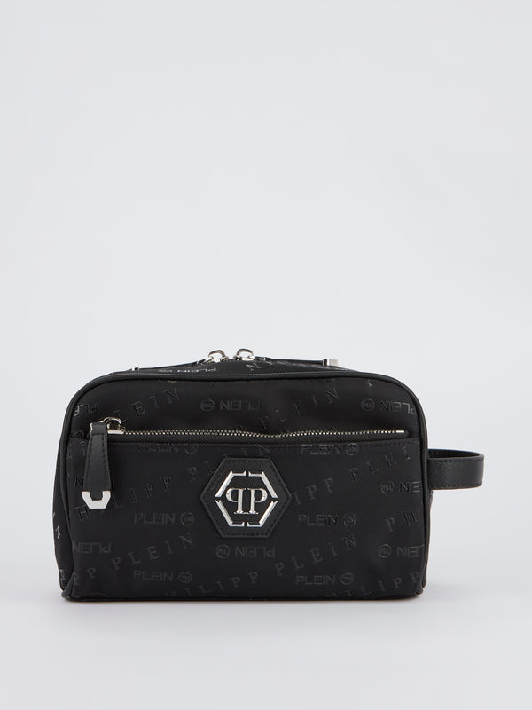 Black Monogram Print Pouch Bag