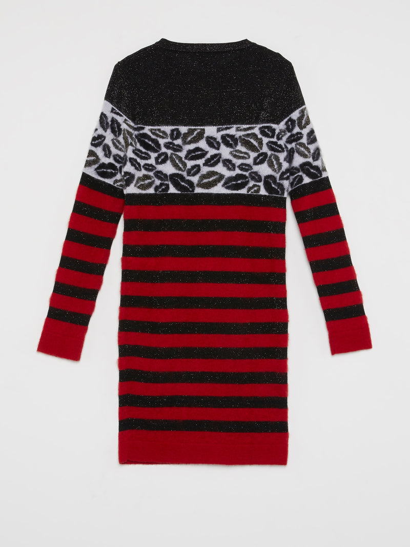 Stripe Panel Glitter Knit Dress