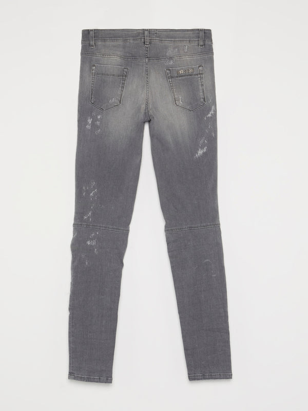 Grey Zip Knee Biker Jeans