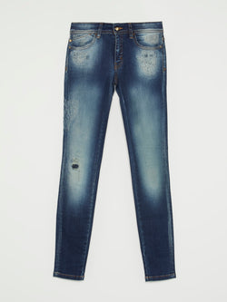 Dark Wash Distressed Trousers