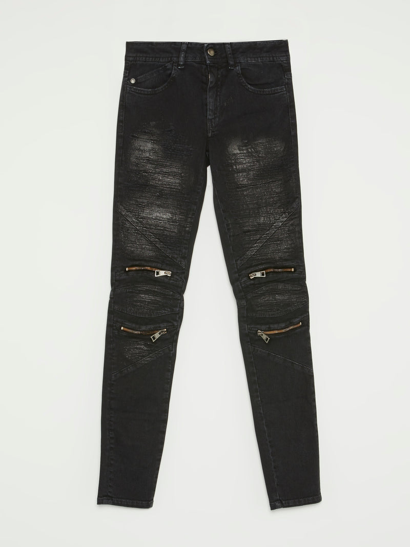 Black Zip Knee Biker Jeans