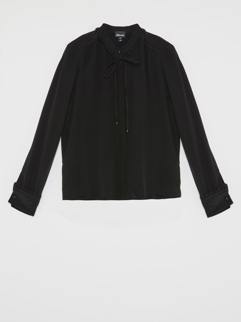 Black Frill Neck Blouse