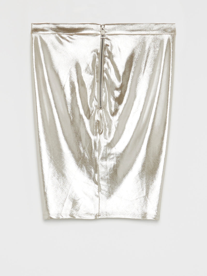 Metallic Draped Mini Skirt