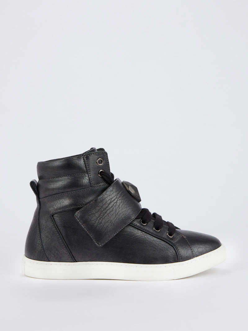 Black Snake Head Embellished Sneakers