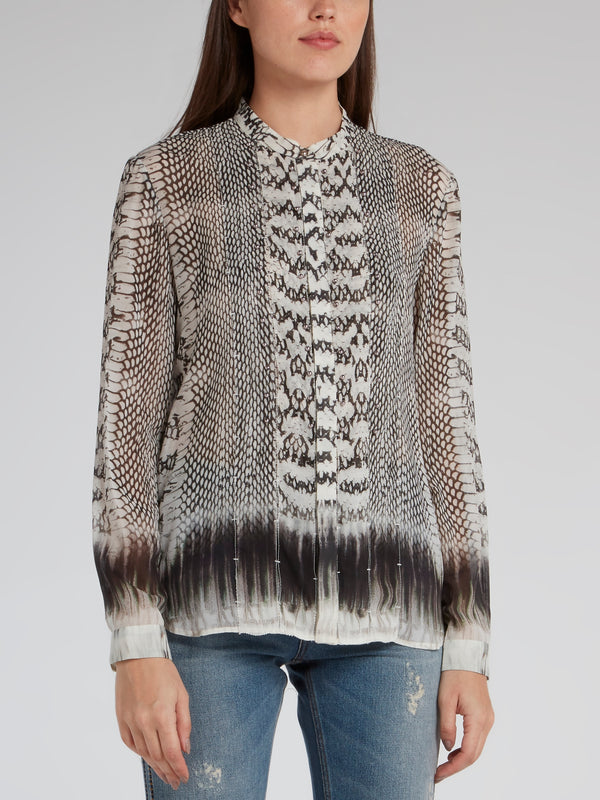 Python Effect Collarless Shirt