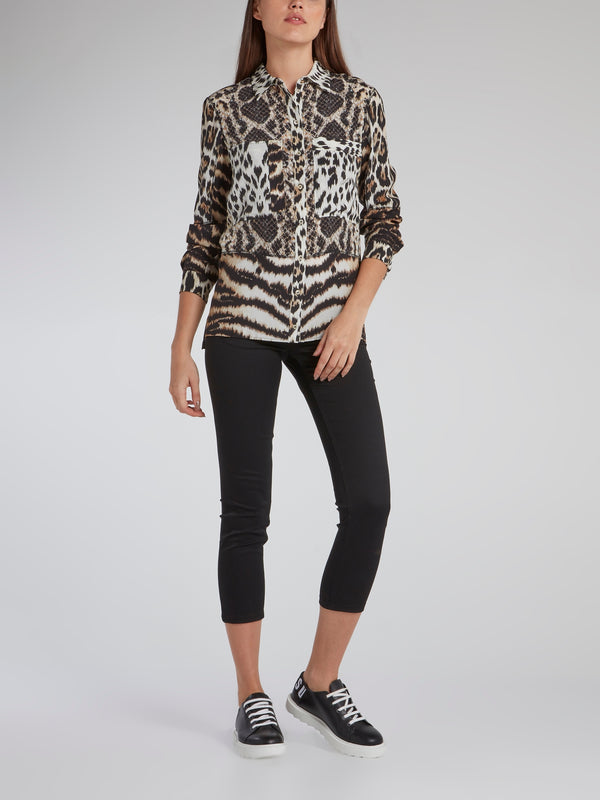Animal Print Button Up Shirt