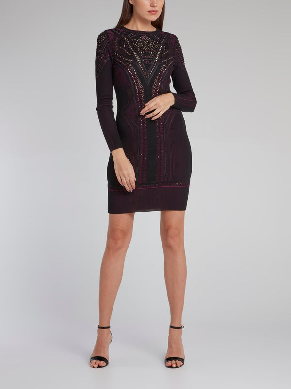 Burgundy Multi-Stud Knit Dress