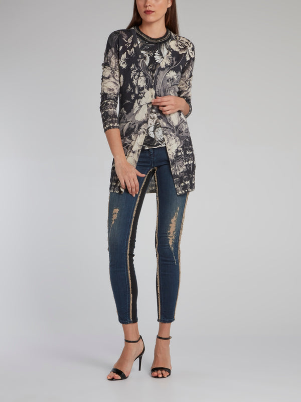 Contrast Frayed Cropped Jeans