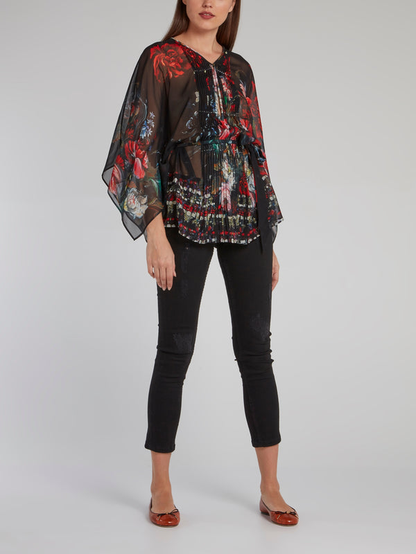 Floral Print Pleated Panel Short Kaftan