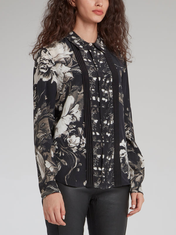 Grayscale Floral Button Up Shirt