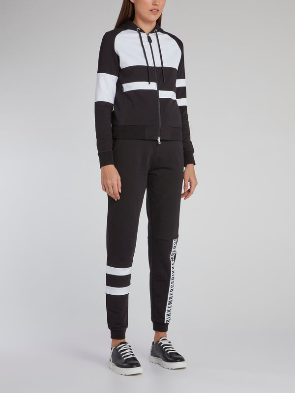 Black Stripe Panel Active Suit