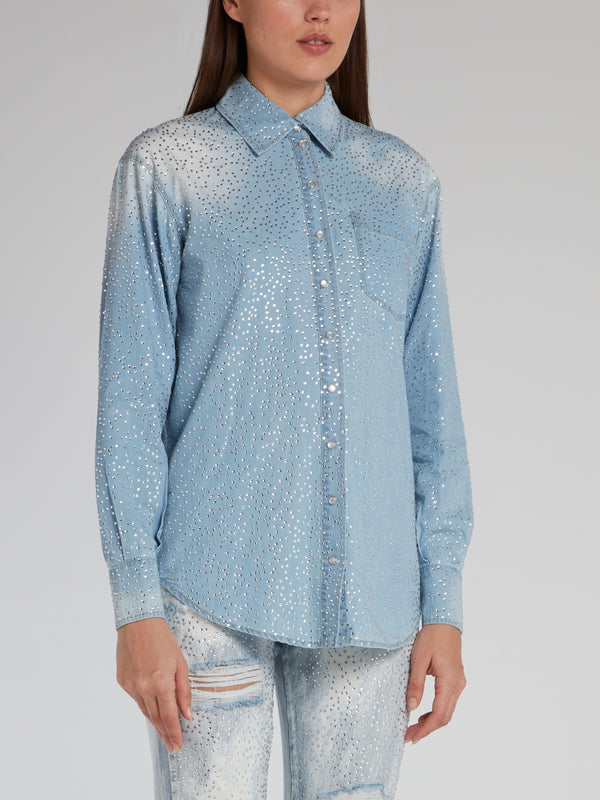 Acid Wash Studded Denim Shirt