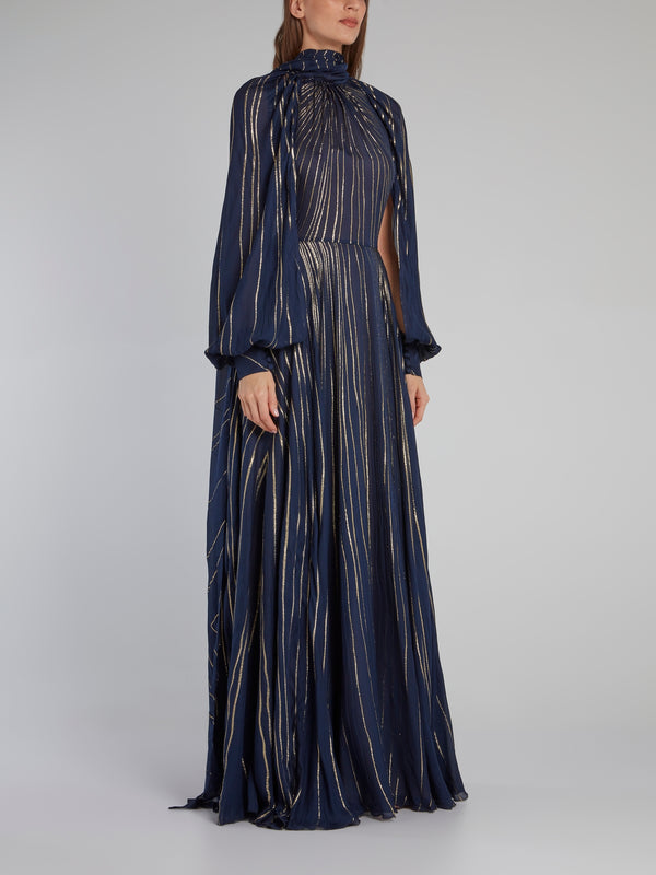 Nags Navy Bishop Sleeve Maxi Dress