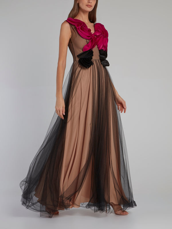 Rose Bib Tulle Overlay Maxi Dress