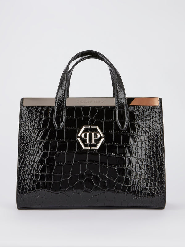 Black Crocodile Effect Top Handle Bag