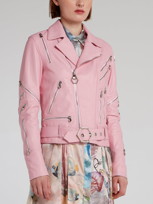 Pink Zipper Embellished Leather Biker Jacket
