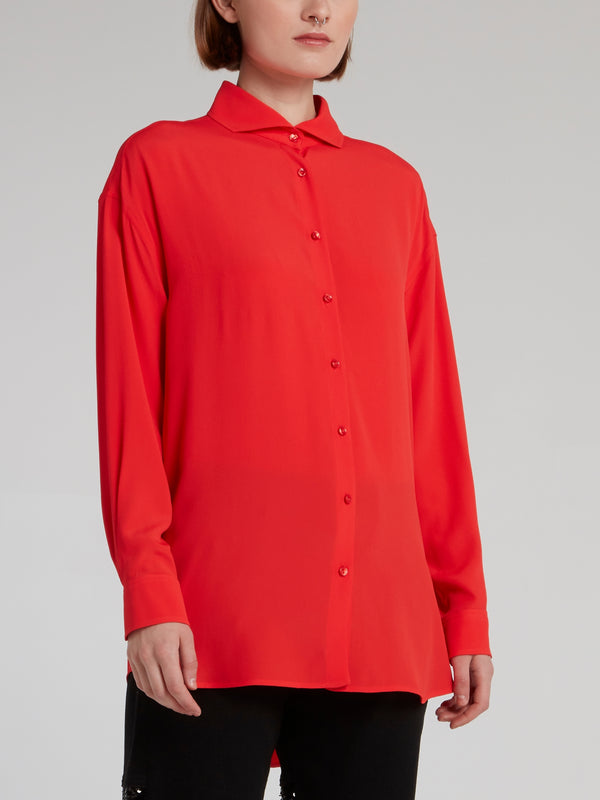 Red Embroidered Rear Logo Shirt