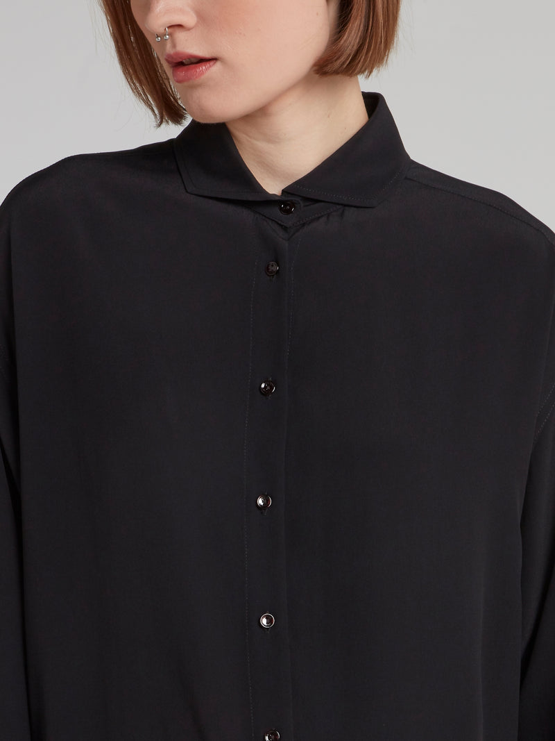 Black Embroidered Rear Logo Shirt