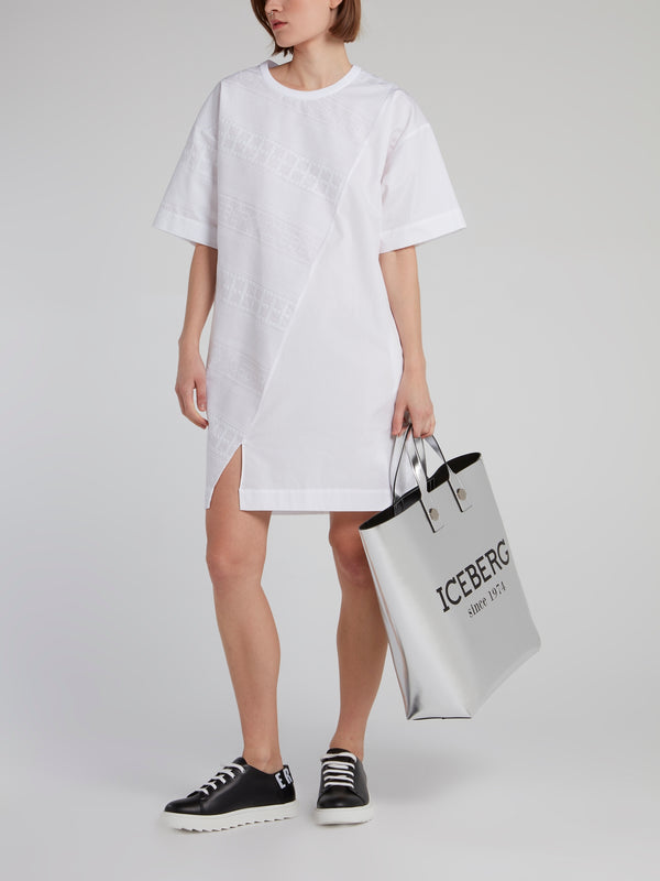 White Logo Panel T-Shirt Dress