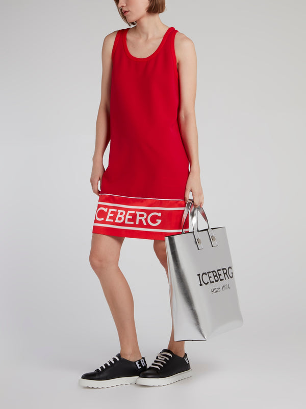 Red Logo Hem Tank Dress