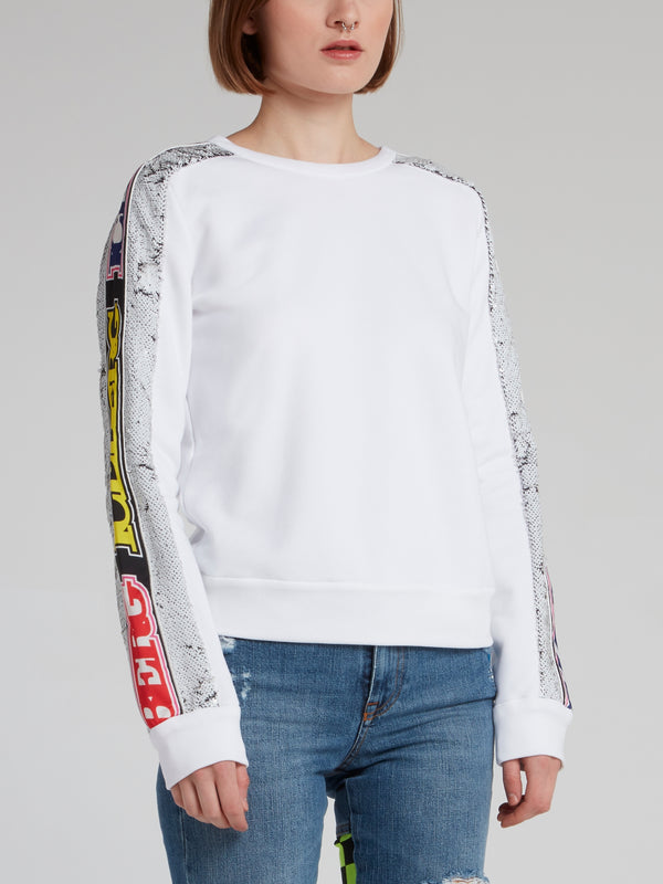 White Logo Sequin Sleeve Sweatshirt