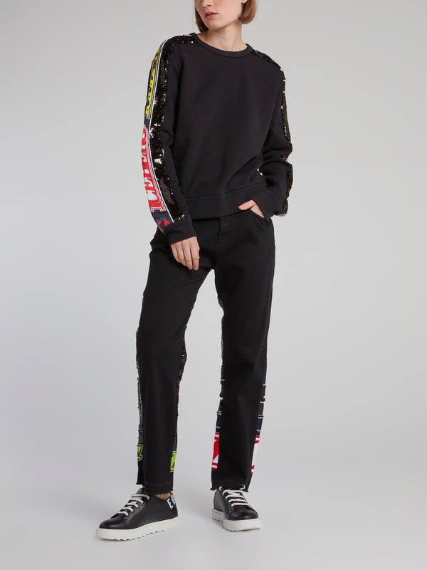 Black Logo Sequin Sleeve Sweatshirt