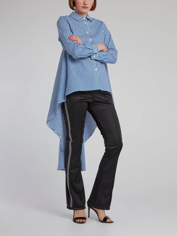 Blue Pinstripe Long Tail Shirt