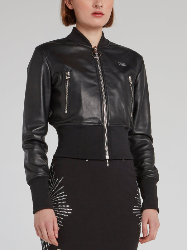 Black Ribbed Waist Leather Jacket