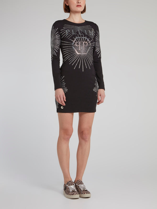 Black Multi-Stud Logo Mini Dress