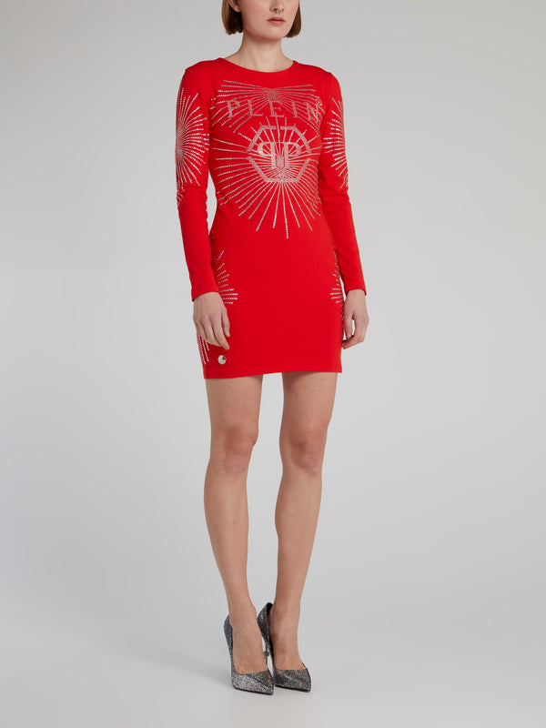 Red Multi-Stud Logo Mini Dress