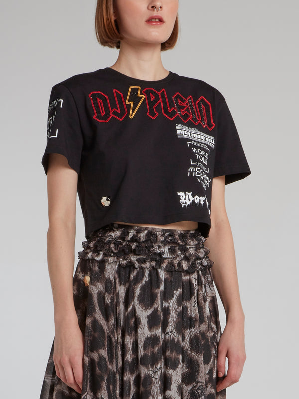 DJ Plein Black Studded Cropped Top