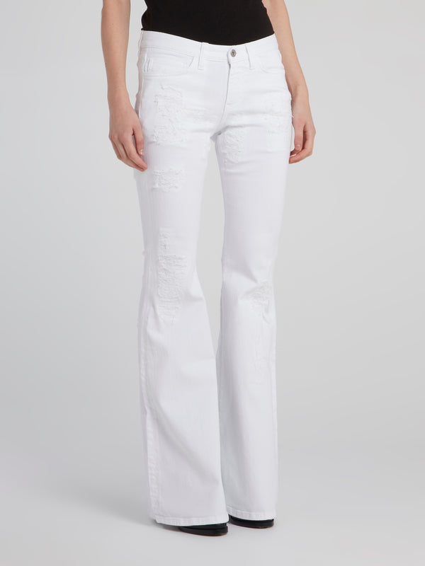White Flared Distressed Denim Pants