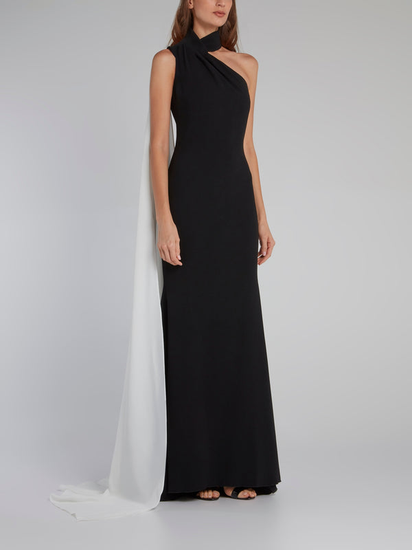 Askeville Black Halter Cape Gown