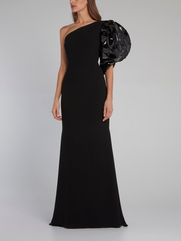 Mahonia Black One Shoulder Gown