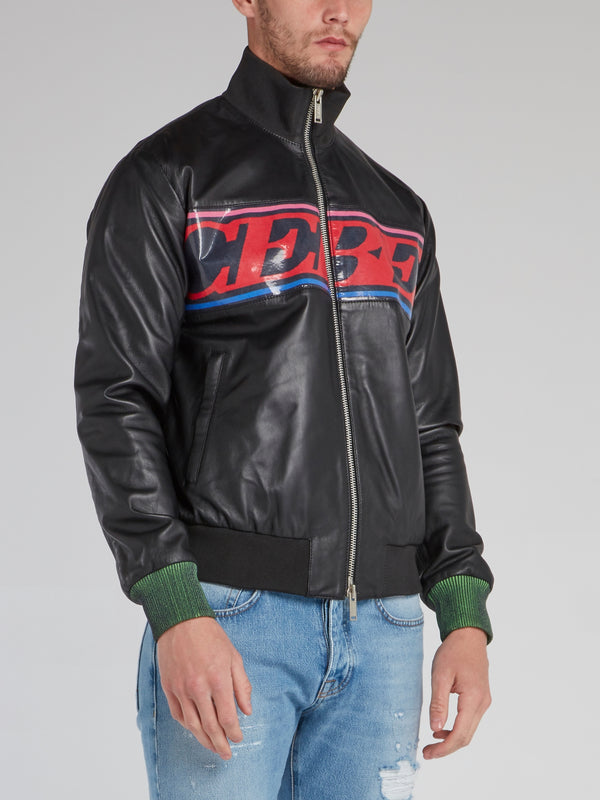Black Ribbed Edge Logo Leather Jacket
