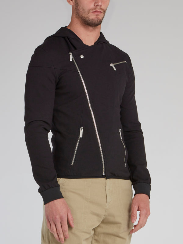 Black Slant Zip Hooded Jacket