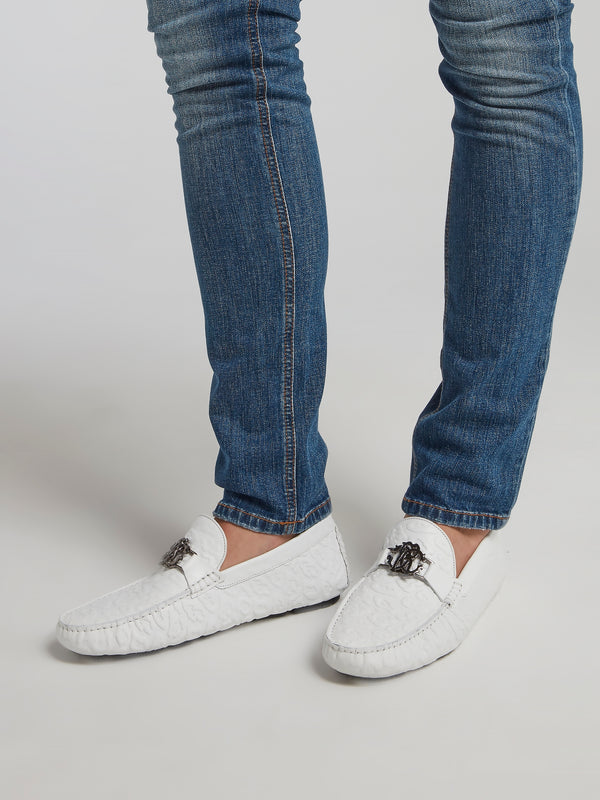 White Leopard Textured Loafers