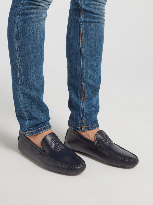 Black Embossed Monogram Loafers