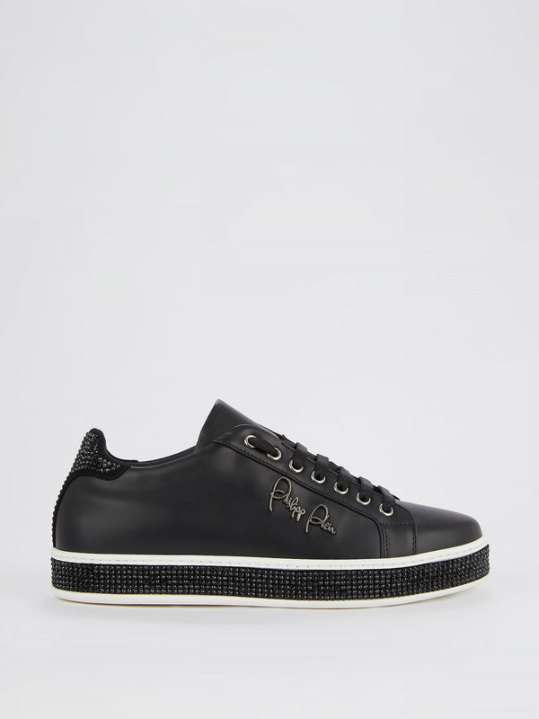 Black Studded Signature Sneakers